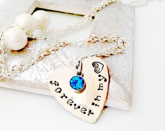Forever in my Heart, Inspirational Jewelry, Necklaces for Women, Women's Jewelry, Jewelry Quotes,  , Hand Stamped, Heart