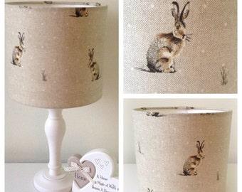 Lampshade Handmade Fryetts Hare Fabric 20cm 30cm Drum Lampshade