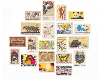Collection of 20 Unused US Vintage Postage Stamps - Yellow/Orange - vps7