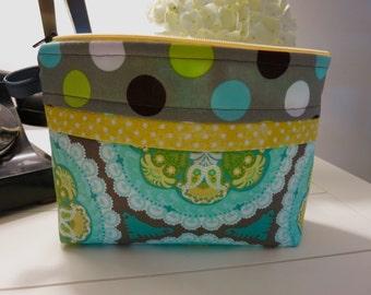 Cosmetic bag, Pencil Case, Zippered Bag, Zippered Pouch, Makeup Bag, Toiletry Bag, Yellow Zipper, School Supplies