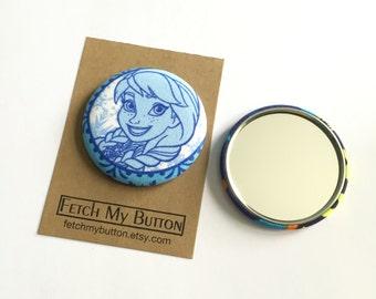 Anna fabric pocket mirror - 2.25 inches