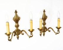 Pair Vintage French Brass 2-Socket Sconces