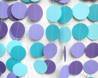 Mermaid Garland, Turquoise and Purple Paper Circles Garland, Birthday Party, Photo Prop,  Frozen,  Under The Sea