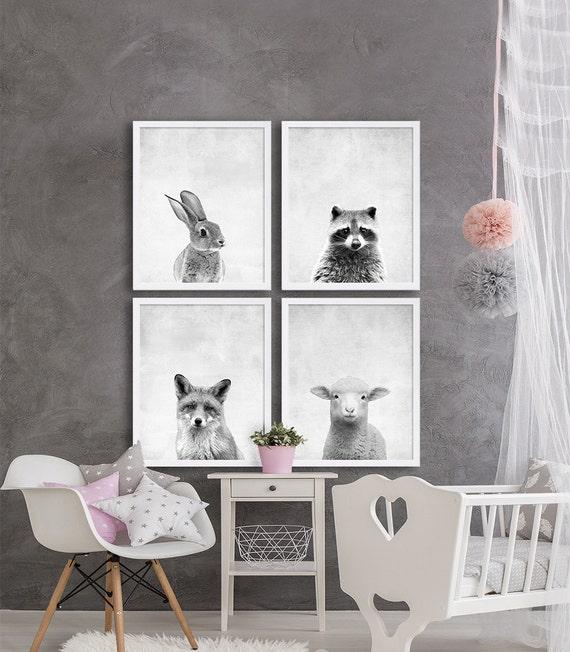 Woodland Animal Nursery Prints Animal Nursery Art Grey Nursery