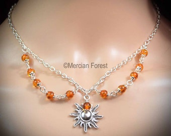Sun's Fiery Light Pagan Necklace - Handmade Pagan Jewellery, Wicca, Witch, Summer Solstice, Copal Amber