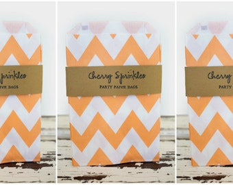 "5x7"" PEACH Chevron Sacks -paper sacks -Peach party decorations -Party Bags -Merchandise bag -Favor Bags -Candy Buffet -Goody bags"