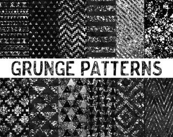Geometric Grunge Digital Paper / Digital Distressed Paper / Grunge Scrapbook Paper / Modern Digital Backgrounds / Black and White / Charcoal