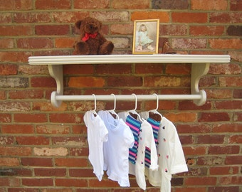 """Distressed Light Gray Nursery shelf with dowel rod 10"""" deep (pictured), Wall shelves extra-deep for Hanging, Gray shelf, Select Size & Color"""