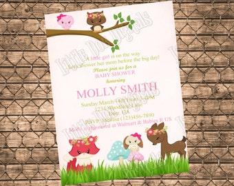 Personalized Woodland Pink Baby Girl Animal Baby Shower Invitation - Printable Digital File - Customized - Deer Fox Rabbit Owl Bird