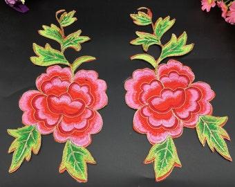 One pair flower applique embroidery patch DIY Accessories applique vintage floral patches