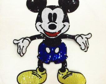 Cartoon sequined applique vintage Mr Mouse embroidered patch sew on or iron on patch
