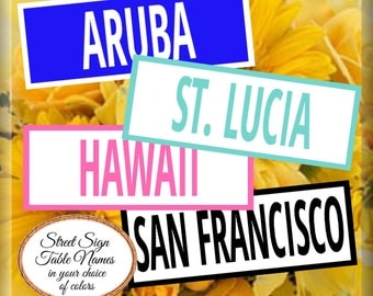 Table Names Table Numbers Street Signs Custom Color Wedding Signs Printable Download Customized
