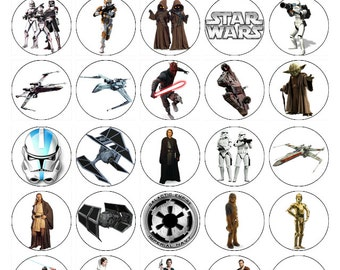 Star Wars edible cake toppers x 30 wafer paper