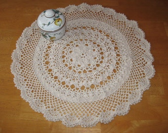 New hand-crocheted ecru doily doilie