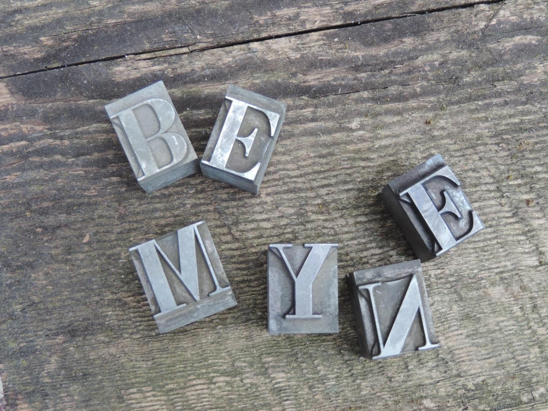 Metal Block Letters Vintage Typeface Block Letters Metal Letters Industrial Letter