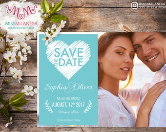 Save the date Sketched Heart, Save the date card, Invitation, Wedding, DIY wedding, save the date printable