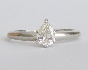 Pear Diamond Ring - PLATINUM - Lovely .59 CT Pear Shaped Brilliant Cut Diamond Solitaire Ring - GIA Gemologist Appraisal 2,010 Usd!
