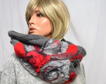 Neck warmer, tube scarf - Hand mede, natural wool - Decorated with natural silk + Australian merino wool
