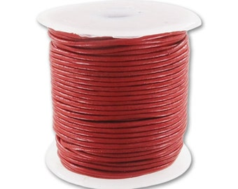 Genuine Leather cord 2mm Red