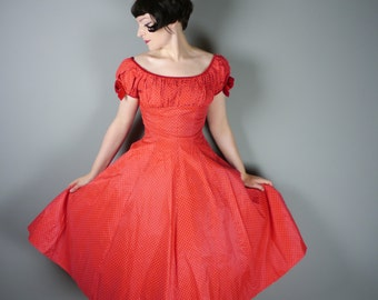 Bright RED 50s dress with white POLKA dot print - puff sleeve w. velvet bows - full circle skirt - ROCKABILLY Mid Century party dress - S