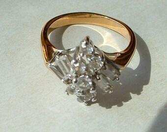 Rhinestone cluster costume ring