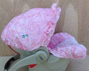 Infant Car Seat Cover- Baby Pink Rossette