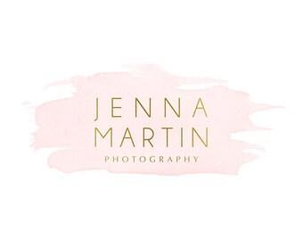 Pre-made Logo Design & Photography Watermark - Watercolor logo - Blog Header - Gold Logo - Instagram Watermark Design - Photography Logo 790