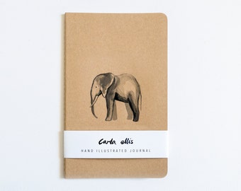 Moleskine Journal: Elephant, Hand Illustrated - Blank or Lined