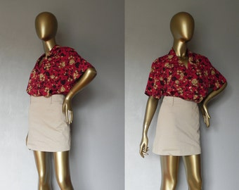 tropical shirt \ red floral blouse top \ button down
