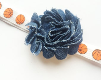 Basketball Headband - Sports Headband - Denim Flower Headband for Girls - Sports Theme Childrens Headband - Girls Head Band - FOE Headband