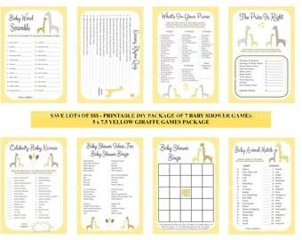 Yellow Giraffe Baby Shower Game Package, Yellow Gray Baby Games, Printable Giraffe Games, DIY Giraffe Baby Games - By Printables 4 Less
