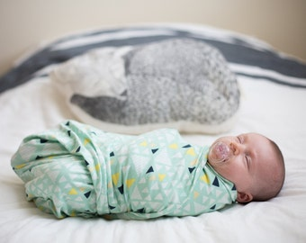 Knit Swaddle Receiving Blanket: Mint Green with Navy, Yellow and White Triangles Blanket
