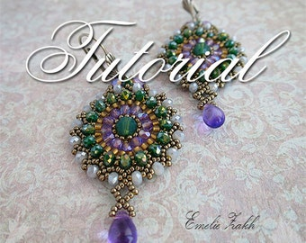 Beading tutorial. beaded earrings. ! Tutorial instructions  earrings,beaded jewelry tutorial.Crystal earrings tutorial.Beadwork tutorial.