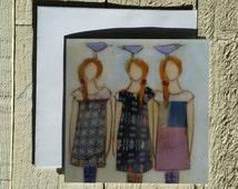 greeting card,  with white envelope, sisters or friendship card, 3 girls,  fine art greeting card, irish art, blank card, encaustic