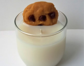 Milk & Cookies Candle, Cookie candle, Chocolate chip cookie, Scented, Soy, Cookies and milk, Dessert candle, Bakery candle
