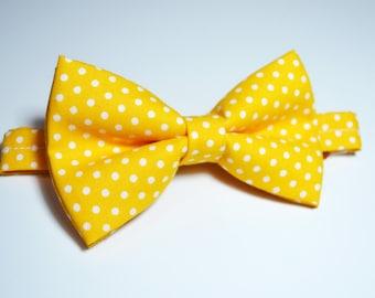 Yellow with White Polka dot bow tie , boys bow tie,baby bow tie,adult bow tie, groomsmen bow tie, Yellow bow tie, Wedding bow tie