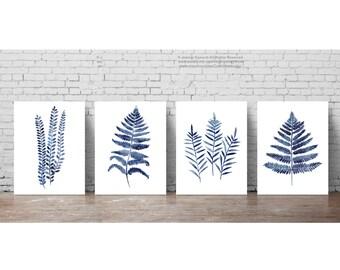 Fern Print Botanical Decor set 4 Blue Leaves Kitchen Poster, Indigo Clip Art Ferns Home Garden Forest Plants Living Room Watercolor Painting