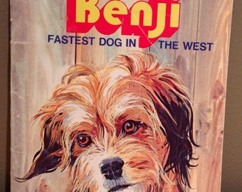 """Vintage 1978 Joe Camp's """"Benji-Fastest Dog In The West"""" child's book by Gina Ingoglia and illustrated by Werner Willis. Paperback with 23 pa"""
