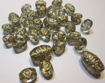 32 Vintage Clear Beads with Gold Details.