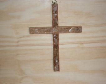Oak Cross with sea glass inlay