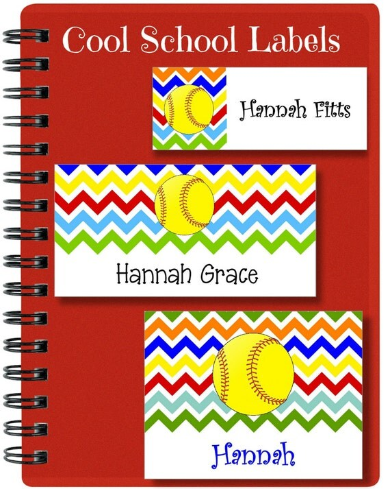 Softball Stickers, School Labels, Back to School, Softball, Chevron, Personalized Stickers, Personalized Labels, Softball Labels, Tags