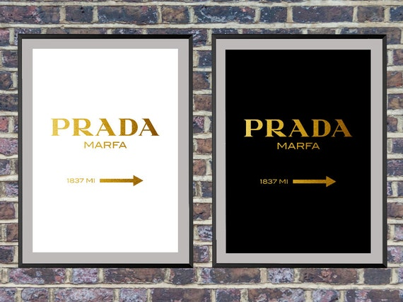 prada marfa wall art gold fashion print fashion by artvintagedecor. Black Bedroom Furniture Sets. Home Design Ideas