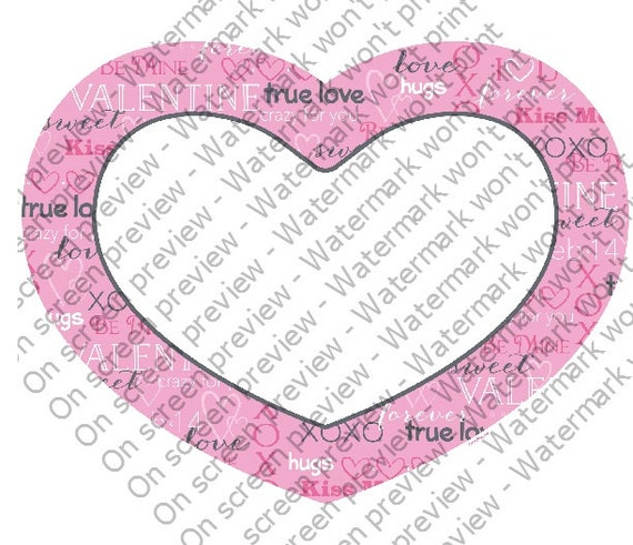 Valentine's Day Heart - Edible Cake and Cupcake Photo Frame For Birthday's and Parties! - D115