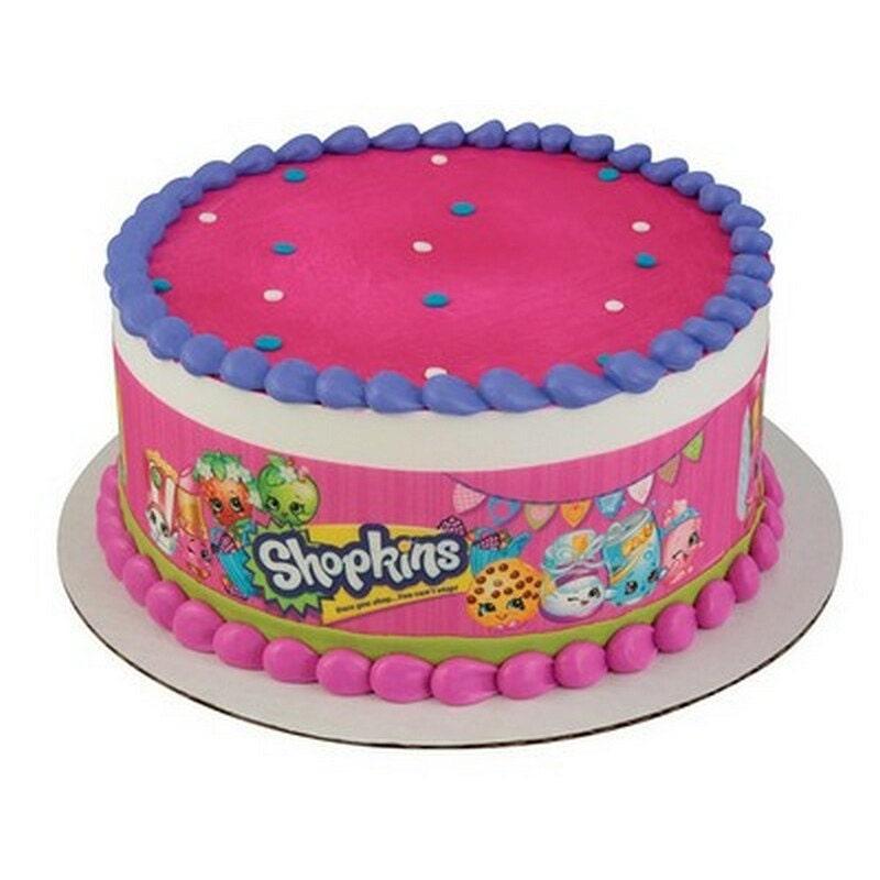 Licensed Edible Cake Images : Shopkins Licensed Designer Strips Edible Cake Side