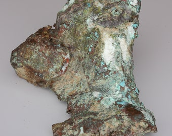 Heavy Natural Native Copper With Green Epidote, Blue Chrysocolla and White Calcite