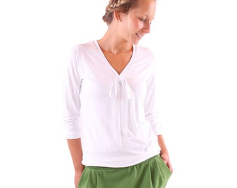 """""""Lore"""" with decorative bow blouse / / white"""