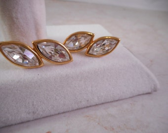 Vintage Napier Signed  Rhinestone Earrings