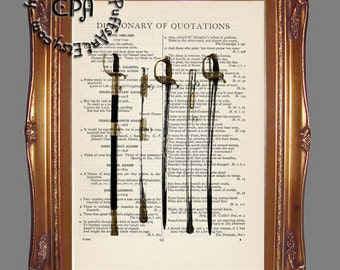 Civil War Swords - Beautifully Upcycled Vintage Dictionary Page Book Art Print, American History Art Print