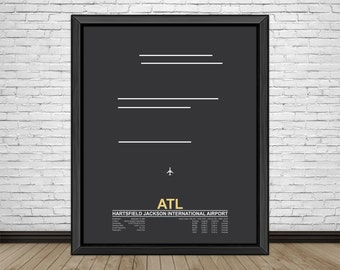 Hartsfield Jackson International Airport (ATL) Atlanta, Georgia, Minimalist Style Airport Runway Prints with Airport Facts