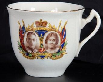 Royal Coronation of King George VI and Queen Elizabeth Vintage Retro Commemorative White Ceramic Tea Cup 1937